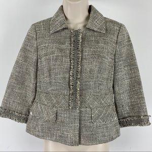 Ann Taylor Crop Brown Tan Tweed Career Blazer 2